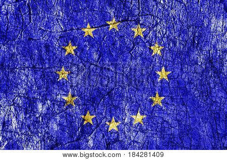 Grudge stone painted European Union flag close