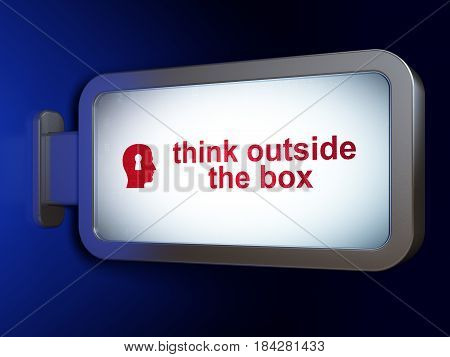 Learning concept: Think outside The box and Head With Keyhole on advertising billboard background, 3D rendering