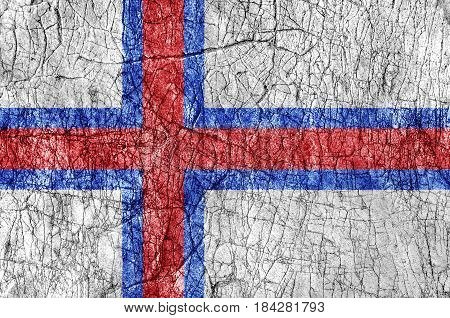 Grudge stone painted Faroe Islands flag close up