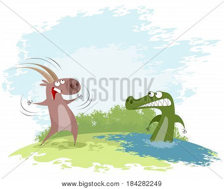 Vector illustration of a goat teases the crocodile
