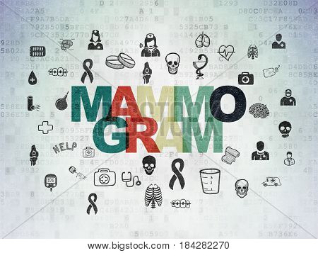 Healthcare concept: Painted multicolor text Mammogram on Digital Data Paper background with  Hand Drawn Medicine Icons