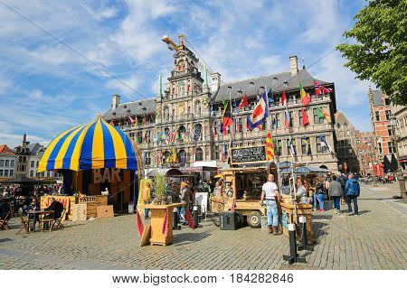 Belgium, Antwerp, City Hall At The Grote Markt Or Great Market Square