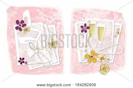Two illustrations on the theme of wedding photography: openwork frames for photographs with wedding accessories - shoes pearl beads glasses of champagne and flowers. On a textured background