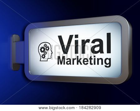 Marketing concept: Viral Marketing and Head With Gears on advertising billboard background, 3D rendering