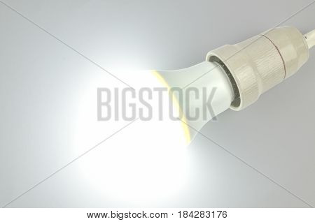 Lit Led Light Bulb On White