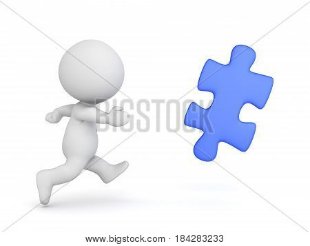3D Character chasing blue jigsaw puzzle piece. Image can be used in any pursuit type concept presentation.
