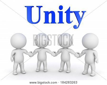 Four 3D Characters holding hands. Image can symbolize strengh in numbers and unity.