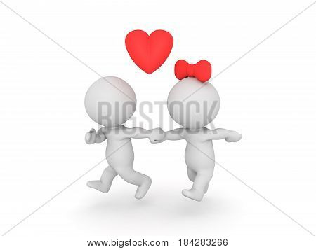 3D illustration of couple running away. Image could depict a just married couple or an affair.