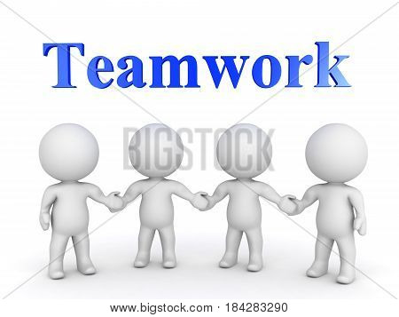 Four 3D Character holding hands with TEAMWORK text written above them. Image depicting a group working together.