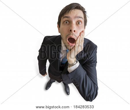 Young Man Is Shocked And Worried. Isolated On White Background.