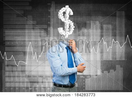 Faceless businessman with dollar sign instead of head