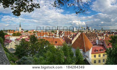 TALLINN - SEPTEMBER 10: Top view on buildings of Old Town on September 10 2013 TALLINN ESTONIA. Old Town is listed in the UNESCO World Heritage List