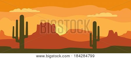 Panorama mountains and sunset sky with clouds and cactus. Vector flat color illustration. For horizontal banner