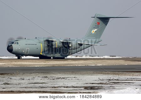 VNUKOVO, MOSCOW REGION, RUSSIA - MARCH 8, 2017: Airbus A400M 14-0028 of Turkish Air Force at Vnukovo international airport.
