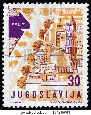 YUGOSLAVIA - CIRCA 1959: a stamp printed in Yugoslavia shows Split Croatia Tourist Attractions circa 1959