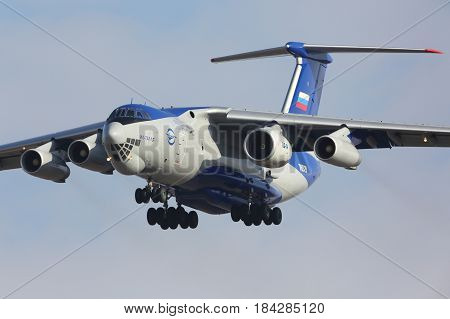 ZHUKOVSKY, MOSCOW REGION, RUSSIA - MARCH 15, 2017: Ilyushin IL-76LL 76529 flying testbed with new PD-14 engine landing at Zhukovsky - Ramenskoe airport.