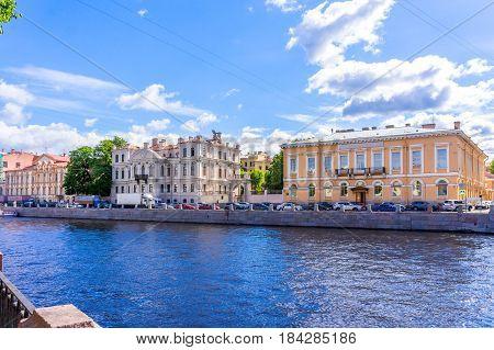 View from Fontanka river embankment in Saint Petersburg Russia