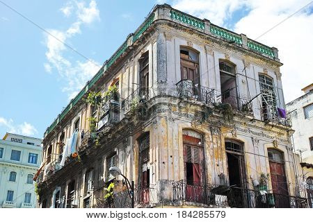 Old Dilapidated Residential Building in Old Havana (La Habana Vieja) - Havana, Cuba