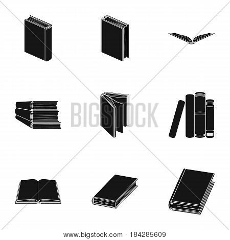 A set of pictures with books. Books, notebooks, studies. Books icon in set collection on black style vector symbol stock web illustration.