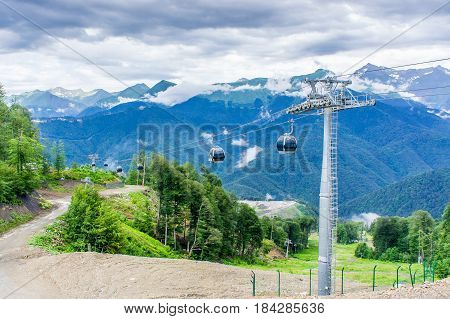 Cableway in the mountains.Beautiful Mountain View. RussiaSochiKrasnaya Poliana.