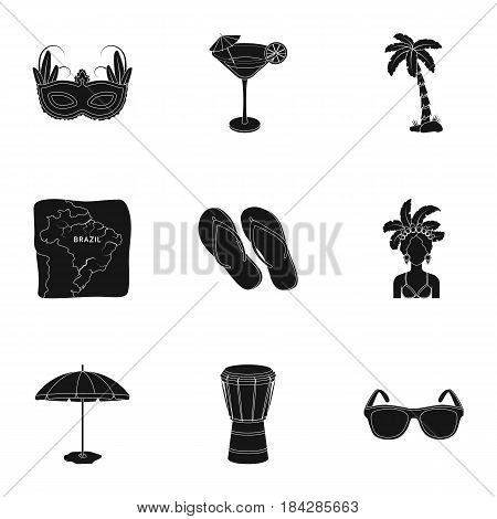 set of icons on the subject of Brazil. Brazilian national attractions. Brazil country Aicon in set collection on black style vector symbol stock web illustration.