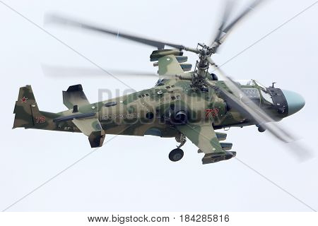 KUBINKA, MOSCOW REGION, RUSSIA - APRIL 10, 2017: Kamov Ka-52 RF-90387 attack helicopters of Russian air force during Victory Day parade rehearsal at Kubinka air force base.