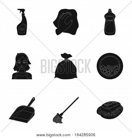 Cleaning, washing and everything connected with it. A set of icons for cleaning. Cleaning and maid icon in set collection on black style vector symbol stock web illustration.