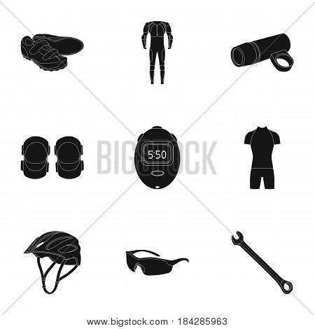 Icons of Cycling, bike. Set for bike, backpack protection, repair, form. Cyclist outfit icon in set collection on black style vector symbol stock web illustration.