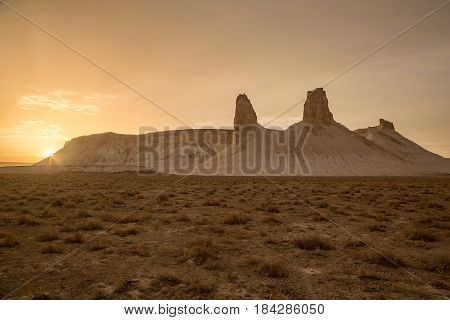 Sunset in the desert canyon of Boszhira, chines of Ustyurt, Kazakhstan