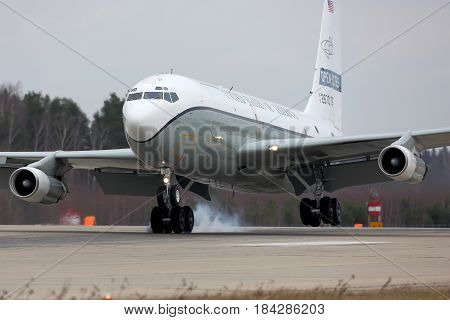 KUBINKA, MOSCOW REGION, RUSSIA - APRIL 10, 2017: Boeing OC-135W 61-2670 of United States air force Open Skies landing at Kubinka air force base.