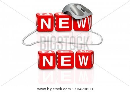 red dices spelling the word new with or without mouse