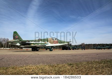 KUBINKA, MOSCOW REGION, RUSSIA - APRIL 21, 2017: Sukhoi Su-25BM attack airplane of Russian air force during Victory Day parade rehearsal at Kubinka air force base.
