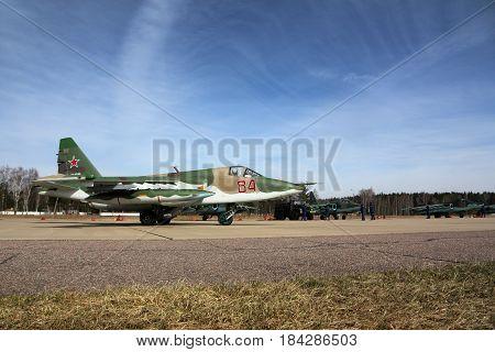 KUBINKA, MOSCOW REGION, RUSSIA - APRIL 21, 2017: Sukhoi Su-25BM attack airplane of Russian air force during Victory Day parade rehearsal at Kubinka air force base.
