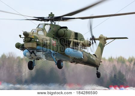 KUBINKA, MOSCOW REGION, RUSSIA - APRIL 24, 2017: Mil Mi-28N Night Hunter RF-13629 of Russian air force during Victory Day parade rehearsal at Kubinka air force base.