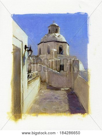 Small churches of Santorini handmade oil painting