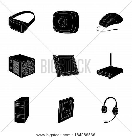 Computer accessories. Headphones, computer parts, accessories.Personal computer icon in set collection on black style vector symbol stock web illustration.