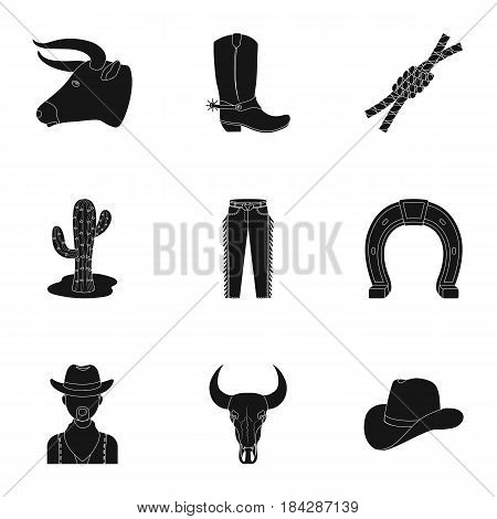 A set of pictures about cowboys. Cowboys on the ranch, horses, weapons, whips.Rodeo icon in set collection on black style vector symbol stock web illustration.