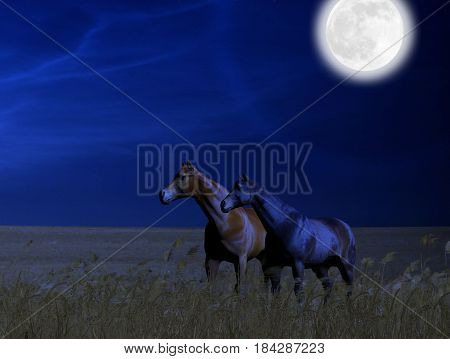 3D painting of beautiful horses standing in a wheat field at midnight under a full moon.