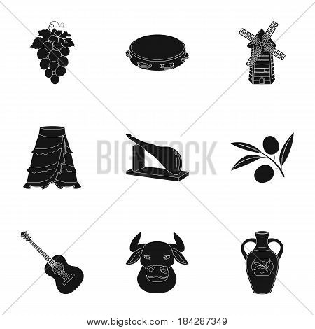 A set of pictures about Spain. Sights of Spain, gypsies, guitar, dances.Spain country icon in set collection on black style vector symbol stock web illustration.
