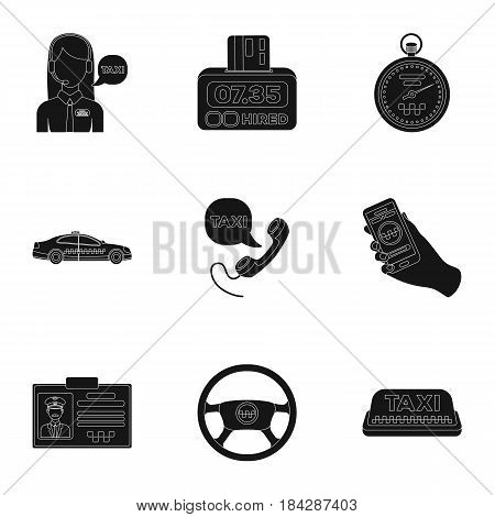 Set of icons about the taxi. A call taxi driver, Parking. Transportation around the city.Taxi icon in set collection on black style vector symbol stock web illustration.