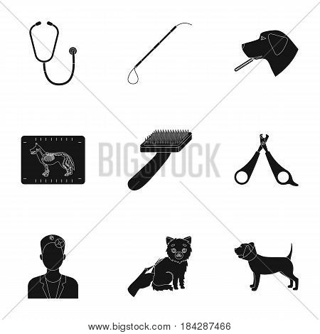 Vet clinic. Treatment of sick animals. Hospital for animals.Vet clinic icon in set collection on black style vector symbol stock web illustration.