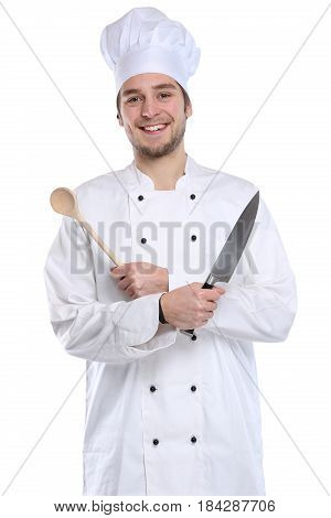 Cook Apprentice Trainee Cooking With Knife Job Young Isolated