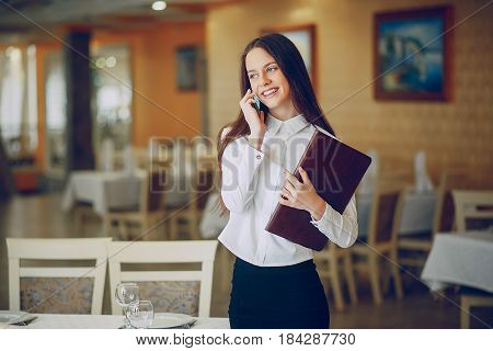 beautiful business girl in the nice restaurant