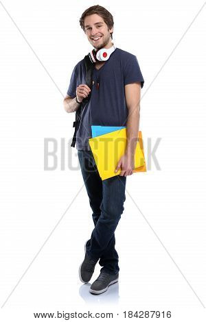 Student Young Man Full Body Portrait People Isolated