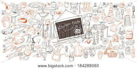 Hand drawn kitchen icons collection with cutlery kitchenware condiments equipment vegetables and tools isolated vector illustration