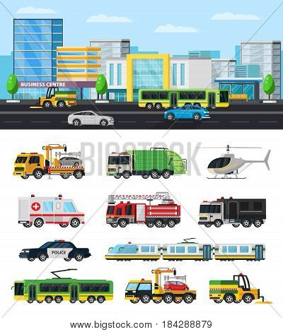 Colorful city transport collection with modern municipal vehicles cars trucks trolleybus tram helicopter sweeper isolated vector illustration