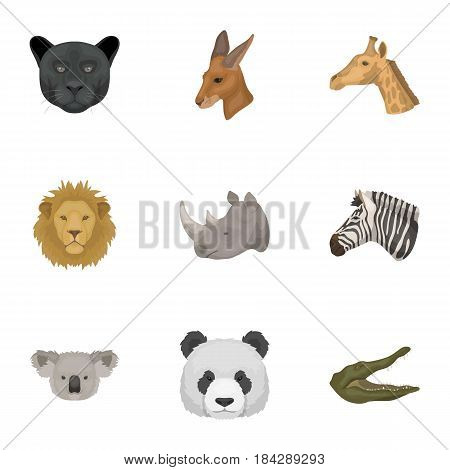 A set of icons of wild animals. Predatory and peaceful wild animals.Realistic animal icon in set collection on cartoon style vector symbol stock web illustration.