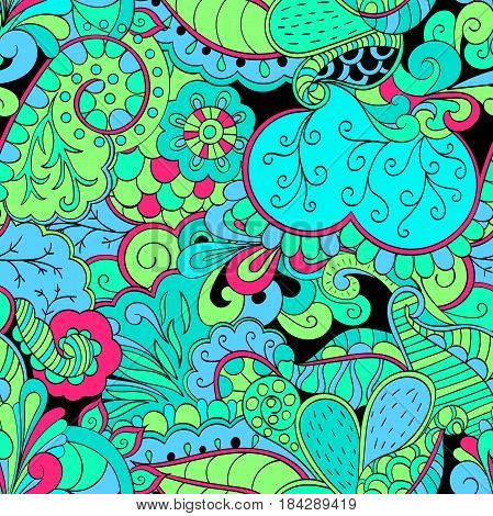 Tracery Seamless Calming Pattern. Mehendi Design. Neat Even Green Blue Sea Harmonious Doodle Texture