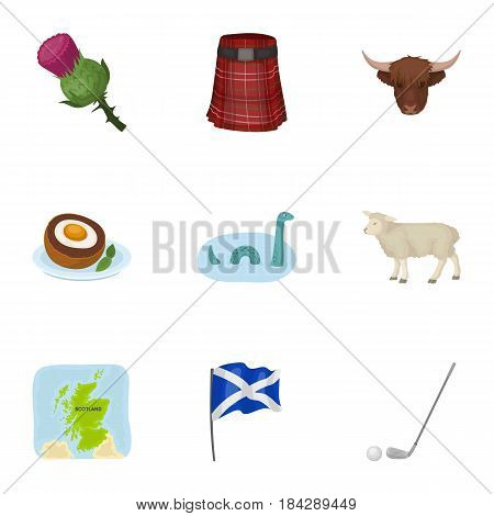National symbols of Scotland. Scottish attractions. Scotland country icon in set collection on cartoon style vector symbol stock web illustration.