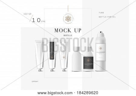 Realistic white cosmetic cream container and tube for cream, ointment, toothpaste, lotion Mock up bottle with design label. Soap pump. Containers for bulk mixtures.